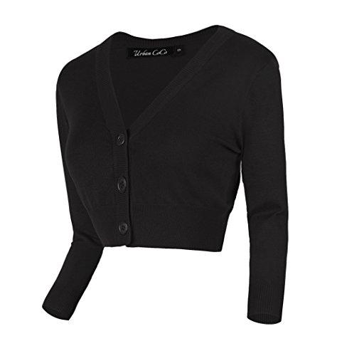 Urban GoCo Damen V-Ausschnitt Kurz-Strickweste Strickjacke (M, schwarz) - Schwarz Kurze Ärmel T-shirt