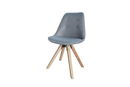DuNord Design Esszimmerstuhl Strukturstoff mit Knöpfen grau Massivholz