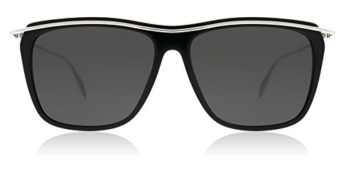 Alexander McQueen AM0143S 003 Black / Silver AM0143S Rectangle Sunglasses Lens Category 3 Size 56mm
