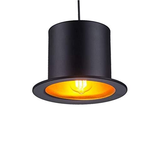 PoJu Kreative Persönlichkeit Retro Droplight-Gentleman-Hut Licht hängende Lampen Innenbeleuchtung Coffeeshop Bar Schlafzimmer (Lampe nicht enthalten) (Color : Flat top hat/gold interior) (Hats Gold Top)