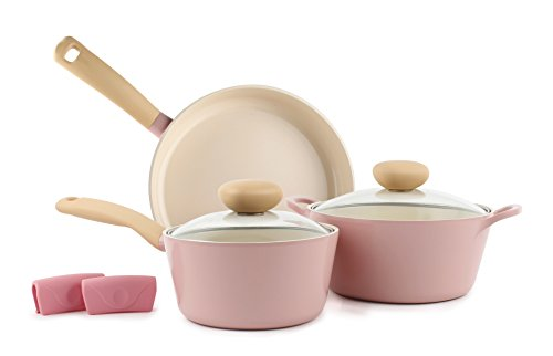 Neoflam Retro 3qt Covered Casserole with Lid, Cast Aluminium Non-Stick Ecolon Coating 5-Piece Set pink