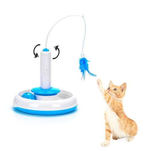 Vealind Giocattolo interattivo per Gatti, per Interni, con Piuma Rotante a 360° e Pallina con Campanellino (Giocattolo)