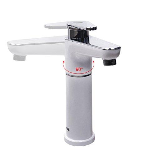 Sofort elektrisch Hot Wasserhahn 2,5kW Wasser Heizung Küchenarmatur Einhebelmischer chrom weiß, 90Grad-Kalt- und Warmwasser Wasserhahn - 4