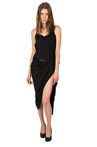 Versace Kleid Damen Schwarz Einfarbig Viskose/Rayon 38