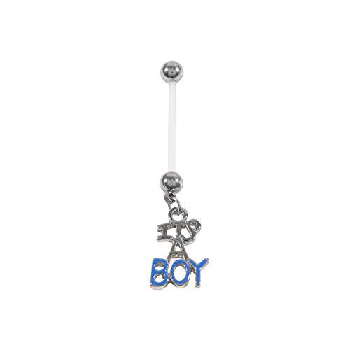 Bauchnabelpiercing It's A Boy, Kunststoff, flexibel, für Schwangerschaft, Blau (Belly Violett Ringe Button)