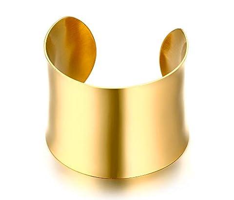 Vnox aux femmes Filles Acier inoxydable Poignet large large Bracelet Vacances Bijoux