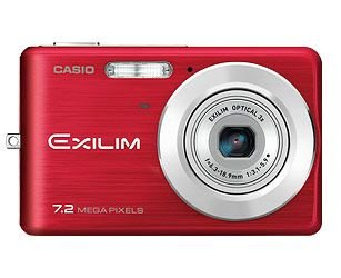 Casio EXILIM EX-Z77 RD Digitalkamera (7 Megapixel, 3-fach opt. Zoom, 6,4 cm (2,5 Zoll) Display) rot