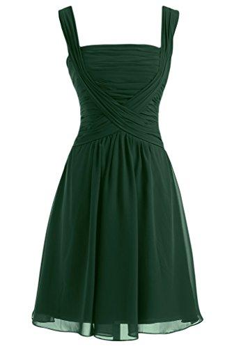 Sunvary Robe de Demoiselle d'Honneur Robe de Cocktail Courte Plisse Bretelle Couvrantes Vert fonce