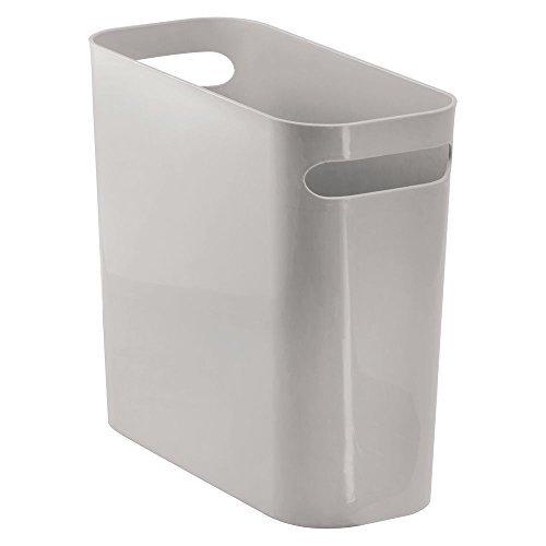 mDesign Papiermülleimer mit Griffen – moderner Mini Mülleimer für Papier – Papiereimer aus robustem Kunststoff – BHT: 27,0 x 25,5 x 13,5 cm – auch als Zeitschriftensammler geeignet – Grau