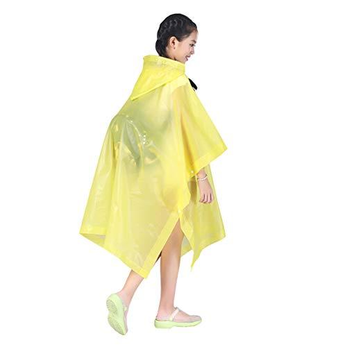 MNEFEL 1 x Kinder-Regenmantel, schöner Umhang, verdickend, zusammengeschlossener Studenten-Regenmantel, geräumiger Poncho, wiederverwendbar gelb