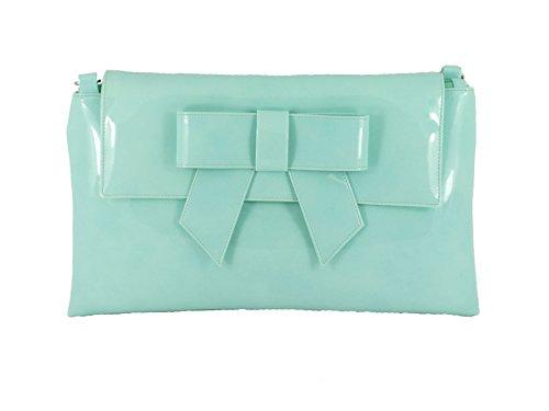 bf6226a446ddf LONI Damen Clutch Tasche mit Schleife in Lack Kunstleder in Marine Blau  Aqua Mint Grün