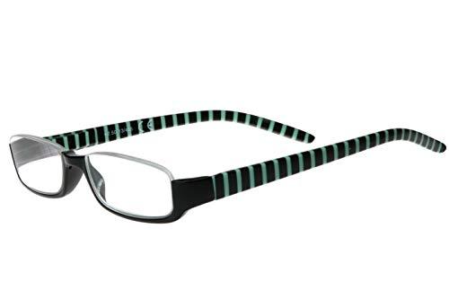 Lesebrille Damen Herren Halb-Rahmen Brille schwarz Opal-grün gestreift rechteckige Gläser sehr leicht Lesehilfe-n Sehhilfe-n Lesebrillen 1.0 1.5 2.0 2.5 3.0 3.5, Dioptrien:Dioptrien 2.5
