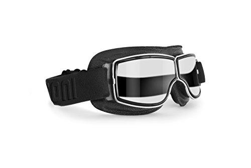 Motorradbrille Schutzbrille für Harley Davidson Chopper und Scrambler aus schwarzem Leder und Chrom Rahmen - Bertoni Italy - AF188B