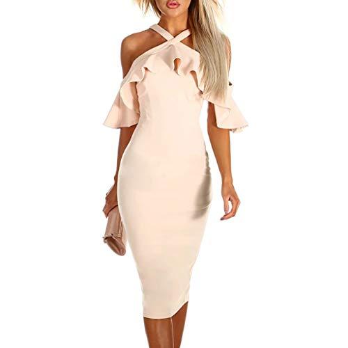 Kleider Damen,SANFASHION Frauen Drucken Cross Off Schulter Kleid Abend Party Kleid Sommerkleid