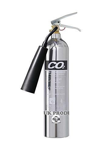 Premium Fss UK 2kg CO2estintori. Cromo lucido. Marchio CE. Ideale per uffici cucina lavoro officine magazzini garage hotel ristoranti