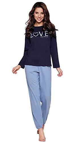 Navy Baumwolle Pyjama (Moonline moderner und bequemer Damen Pyjama, aus 100% weicher Baumwolle, Navy-Love, Gr. M (40/42))