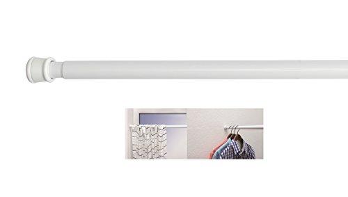 Duschvorhangstange Weiss ausdrehbar verschiedene Größen hochwertige Duschstange ohne Bohren Teleskopstange sicherer Halt Spannstange durch Drehen verstellbar als Duschstange Kleiderstange oder Raumteiler verwendbar 125-220 cm