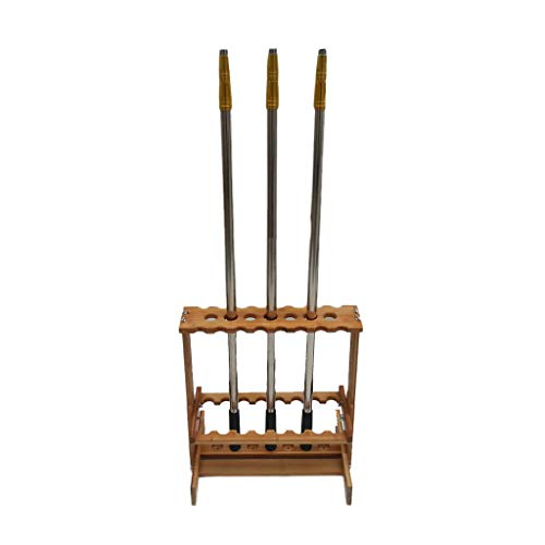 Xing Hua home 47 Angelrute Display Rack Lagerregal 23 Holz Bambus Rafts Haushalt Angelrute Rack (Color : Wood Color, Size : 50 * 15 * 63cm)