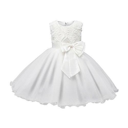 Kleider 3D Blume Mädchen Kleid Kinder Kleider Prinzessin Festkleid Hochzeit Brautkleid Geburtstag Abendkleid Kommunionskleid Weiß 140