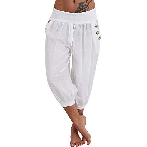 Feytuo Femme Pantalon Casual Elastiqué Grande Taille Bouton Yoga Sarouel Pantalon avec CordonCoton Lin Dames Bloomers Pantalon Confortabl