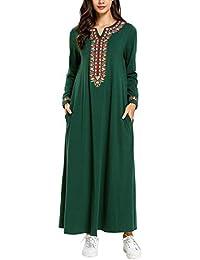 73f19292c03 Zhhlaixing Robe Musulmane Caftan Dubai de Broderie pour Femme Manche Longue  Arabe col en v avec Poche Robe Longue Abaya Vêtements…