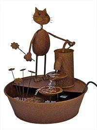 Metall-Brunnen Gartenbrunnen KATZE mit Blumen + Elektropumpe