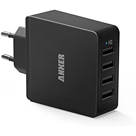 Anker Cargador USB de Pared 36W (7.2A) con 4 Puertos PowerIQ Cargador de Red Universal 110-240V para iPhone, iPad, Samsung, BQ, Xiaomi, Motorola, Nokia y más.