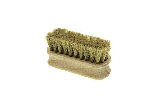 Schuhglanzbürste hell MINI - aus Buchen Holz und hellem Rosshaar, Bürste zum polieren + versiegeln der Oberfläche Ihrer Schuhe, ideal für unterwegs oder Reisen, ca. 90x35x45mm, Made in Deutschland -