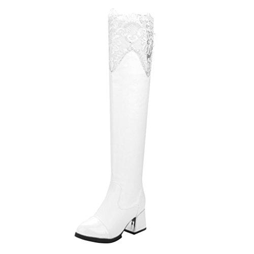 YE Damen Spitze Overknee Langschaft Stiefel High Heels mit Schnürung Hinten Blockabsatz Kniehoch 6cm Absatz Boots Weiß