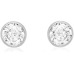 Carissima Gold 9ct White Gold 5mm Round Cubic Zirconia Stud Earrings