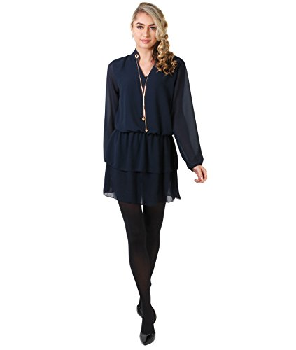 KRISP ® Femmes Mini Robe Bohème Mousseline de Soie Loose Casual Bleu Marine