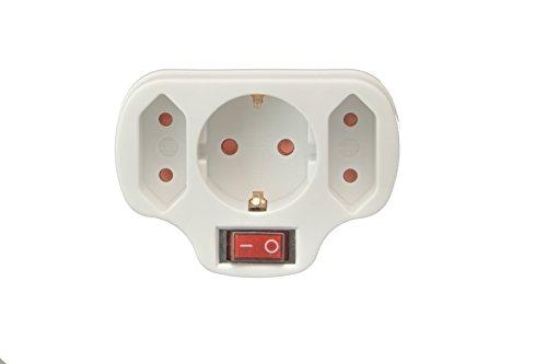 Multistecker Adapter Schuko Verteiler Mehrfachstecker (3-fach mit Schalter)