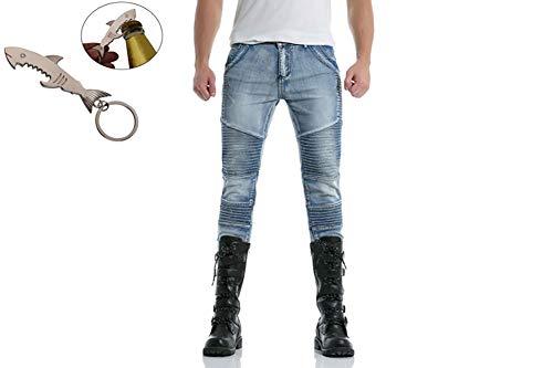G&Armanis shop Herbst Neue Hosen, Herren High Street Plissee Slim Washed Denim-Hose M-2XL,B,M