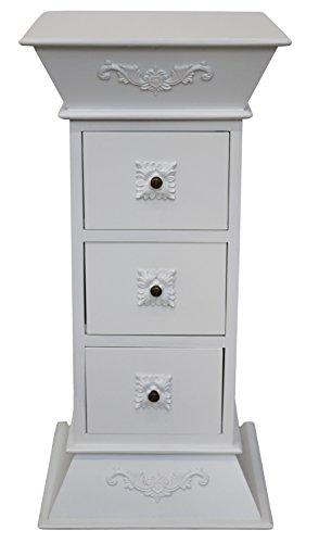 Weiß Holz Breite Beistelltisch (Blumensäule Telefontisch Hochkommode Kommode Beistelltisch 83cm Antik-Stil)