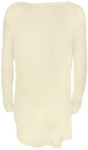 WearAll - Cardigan avec les poches à manches longues et en dentelle - Cardigans - Femmes - Tailles 36 à 42 Crème