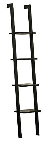 Orolay Modern Display Wall Shelf Ladder Shelf Bookcase 4 Tiers (Black)