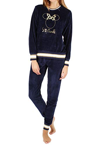 Disney Pijama Manga Larga Velour Minnie Navy para Mujer