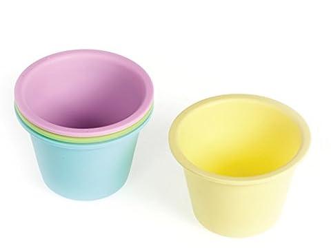 Habi Cake Design Packung 4 Formen Panna Cotta,aus Silikon, Durchmesser 9 cm, Höhe 6 cm, Pastell