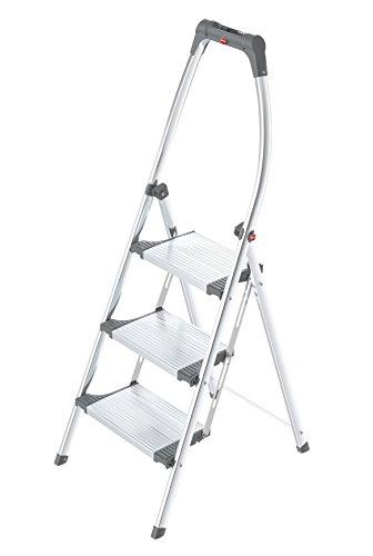 Hailo LivingStep Comfort Plus, Alu-Klapptritt, 3 Stufen, hoher Sicherheitshaltebügel, Füße mit Soft-Grip-Sohlen, belastbar bis 150 kg, 4303-201