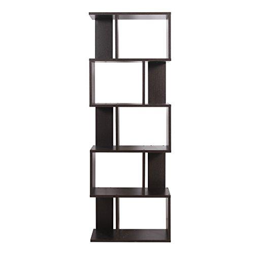 Mobili rebecca® scaffale libreria 5 mensole legno design moderno marrone wenge cameretta studio (cod. re6030)