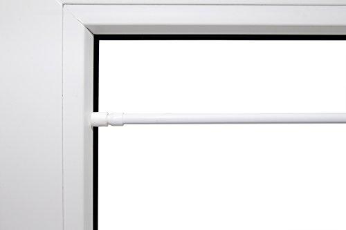 Klemmstange ausziehbar weiss verschiedene Größen mit Gummistopfen 9 mm Durchmesser aus Metal rund Schraubtechnik Gardinenstange Scheibenstange Tür Fenster Stange Teleskopstange 60 - 90cm