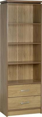 Charles 2 Drawer Bookcase in Oak Effect Veneer with Walnut Trim