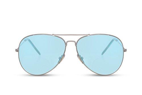Cheapass Sonnenbrille Piloten-Brille Silber Blau Mint Getönt-e Linsen UV-400 Cat-2 Designer-Brille Damen Frauen