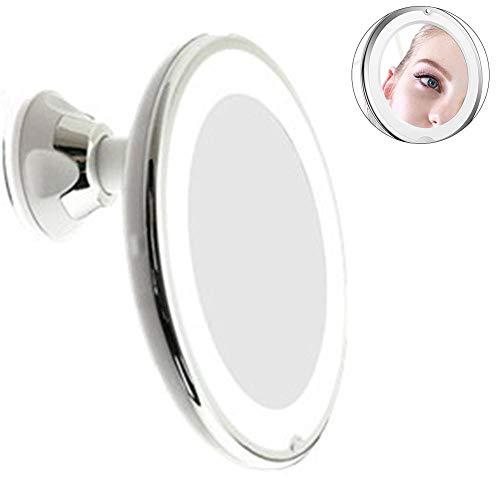 LED Schminkspiegel-Kosmetikspiegel 10-fache Vergrößerung einstellbare Helligkeit batteriebetriebenes LED-Licht