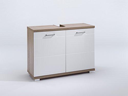 Homexperts Waschbeckenunterschrank NUSA / Waschtisch Unterschrank stehend, in Sonoma eiche Hochglanz weiß lackiert / 2-türig, 80 x 31,5 x 59cm (B x T x H)