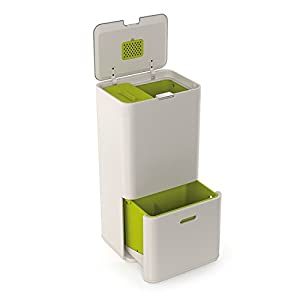 Joseph Joseph Intelligent Waste Totem Bin, 60 Litre, Stone - Includes 4 Litre Waste Caddy