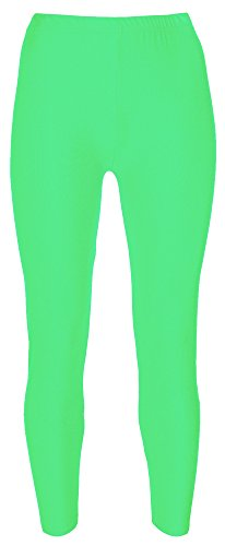 Re Tech UK - Mädchen Leggings - für Gymnastik, Tanzen & Ballett - glänzend - elastisch - Neongrün - 9-10 Jahre (Klassisches Ballett Kostüm)
