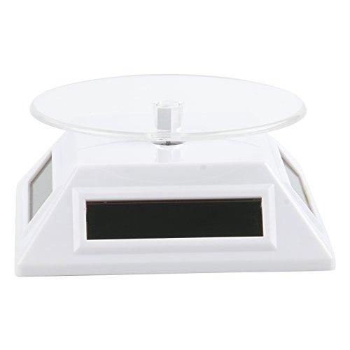 TRIXES Stand Tournant Blanc à Piles/Énergie Solaire pour Exposition de Produits Art Bijoux Photos