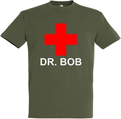 (Herren T-Shirt DR. Bob (L, Olive))