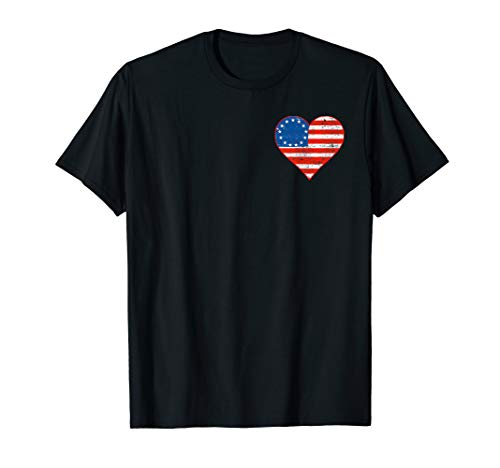 Betsy Ross Flagge, zweiseitig, amerikanische Flagge, Herz T-Shirt